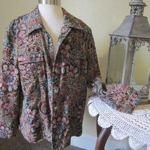 Koret Woman 18W Tan Violet button front jacket
